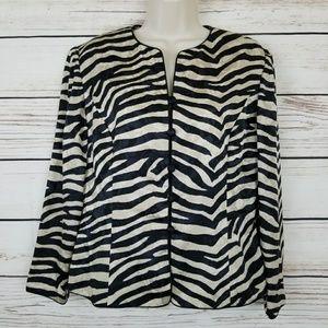 Adrianna Papell Silk Zebra Print Blazer Rose Detai